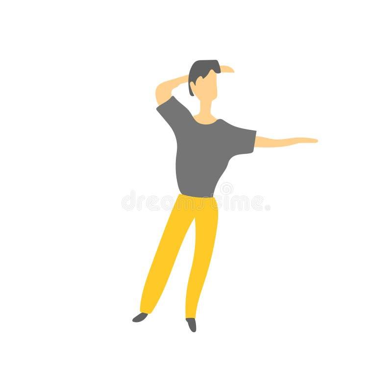 muestra y símbolo de baile del vector del vector del hombre aislados en el fondo blanco, concepto de baile del logotipo del vecto stock de ilustración