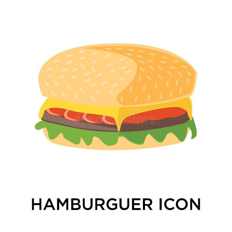 Muestra y símbolo del icono de Hamburguer aislados en el backgro blanco ilustración del vector