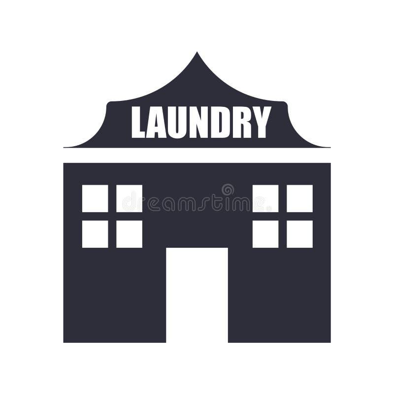 Muestra y símbolo del icono del lavadero aislados en el fondo blanco, concepto del logotipo del lavadero ilustración del vector