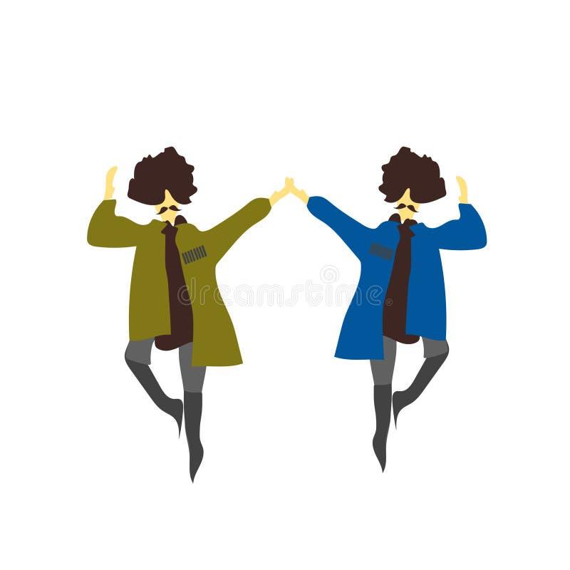 muestra y símbolo del vector del vector del baile del natinal de 2 hombres aislados en el fondo blanco, concepto del logotipo del ilustración del vector