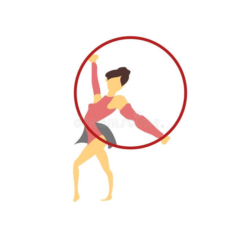 Muestra y símbolo del vector del vector de la gimnasia de la muchacha aislados en el fondo blanco, concepto del logotipo del vect ilustración del vector