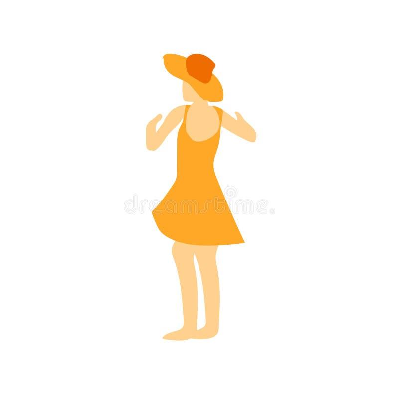 Muestra y símbolo del vector del vector de la muchacha de baile aislados en el fondo blanco, concepto del logotipo del vector de  ilustración del vector