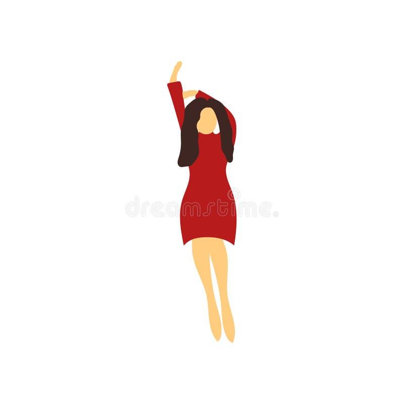Muestra y símbolo del vector del vector de la mujer del baile aislados en el fondo blanco, concepto de baile del logotipo del vec ilustración del vector