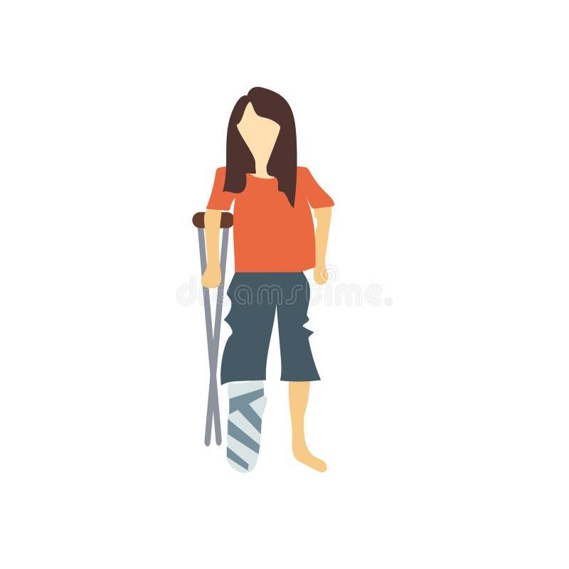muestra y símbolo del vector del vector de la mujer discapacitada aislados en el fondo blanco, concepto del logotipo del vector d libre illustration