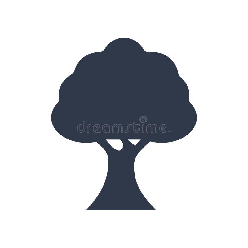 Muestra y símbolo del vector del icono del árbol aislados en el fondo blanco, T ilustración del vector