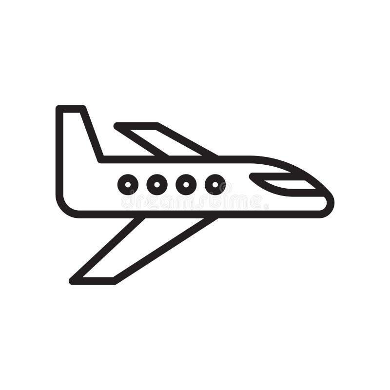 Muestra y símbolo del vector del icono del aeroplano aislados en el fondo blanco, concepto del logotipo del aeroplano stock de ilustración
