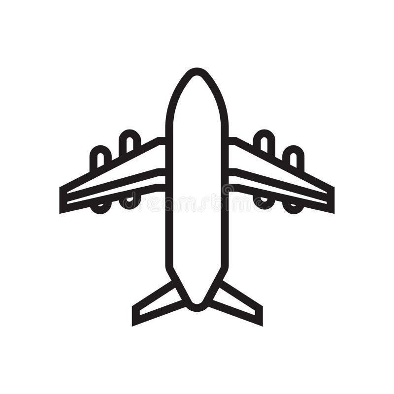 Muestra y símbolo del vector del icono del aeroplano aislados en el fondo blanco, concepto del logotipo del aeroplano ilustración del vector