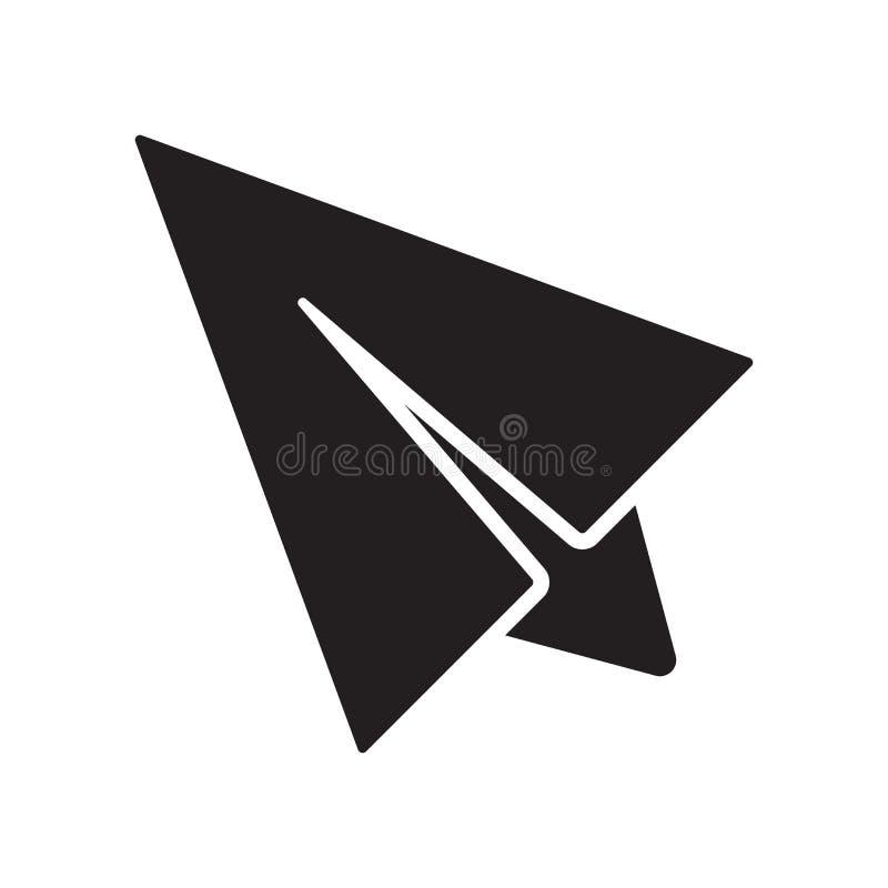 Muestra y símbolo del vector del icono del aeroplano de la papiroflexia que vuelan aislados en el fondo blanco, concepto del logo ilustración del vector