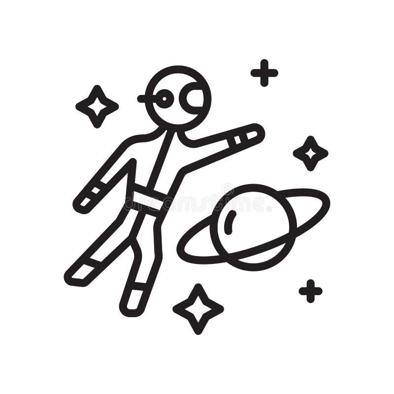 Muestra y símbolo del vector del icono del astronauta aislados en el backgrou blanco stock de ilustración
