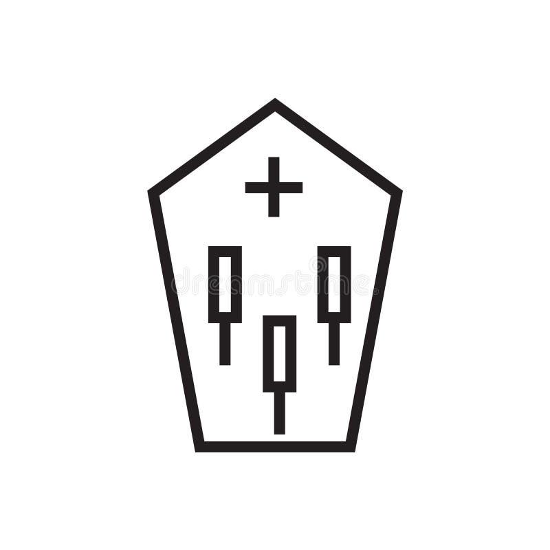 Muestra y símbolo del vector del icono del ataúd aislados en el fondo blanco libre illustration