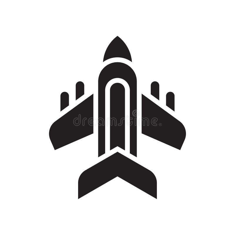 Muestra y símbolo del vector del icono del avión aislados en el backgrou blanco stock de ilustración