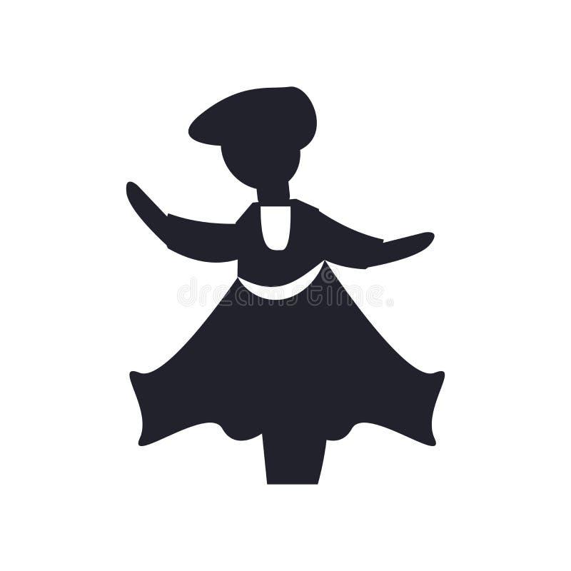 Muestra y símbolo del vector del icono del baile del hombre aislados en el fondo blanco, concepto del logotipo del baile del homb ilustración del vector