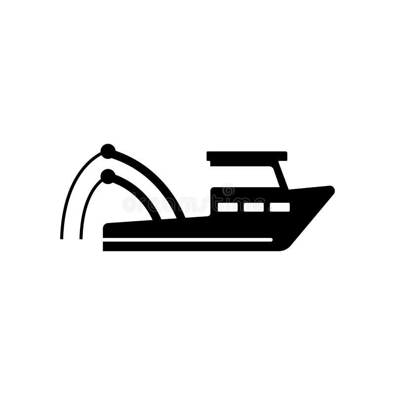 Muestra y símbolo del vector del icono del barco de pesca aislados en el backg blanco libre illustration