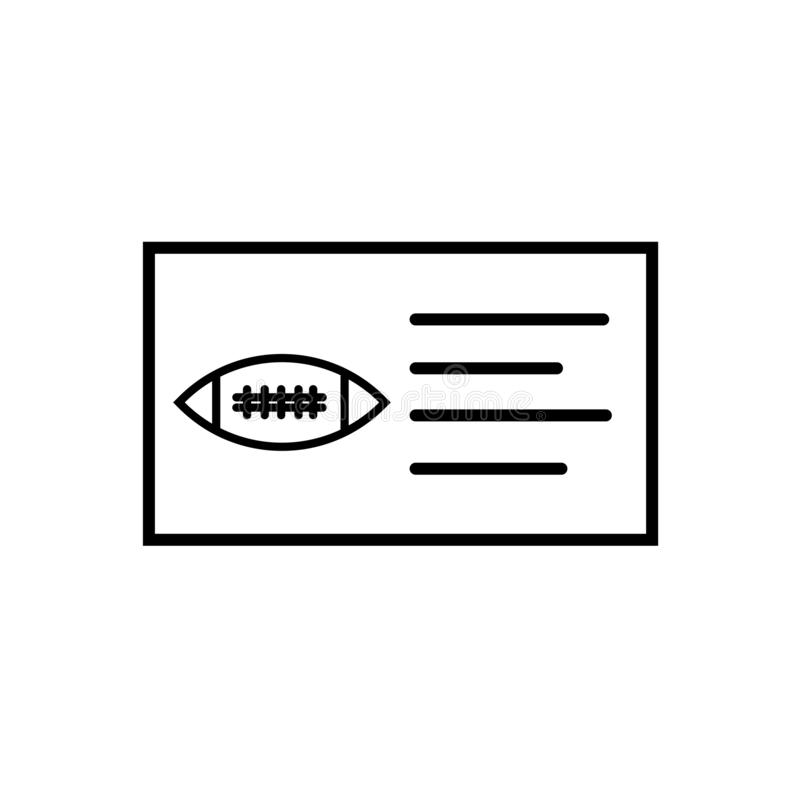 Muestra y símbolo del vector del icono del boleto del fútbol americano aislados en el fondo blanco, concepto del logotipo del bol libre illustration