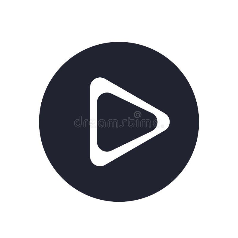 Muestra y símbolo del vector del icono del botón de reproducción aislados en el fondo blanco, concepto del logotipo del botón de  libre illustration