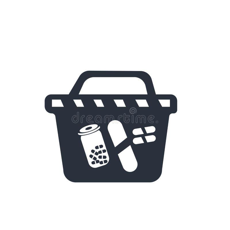 Muestra y símbolo del vector del icono del carro de la compra de la farmacia aislados en el fondo blanco, concepto del logotipo d ilustración del vector