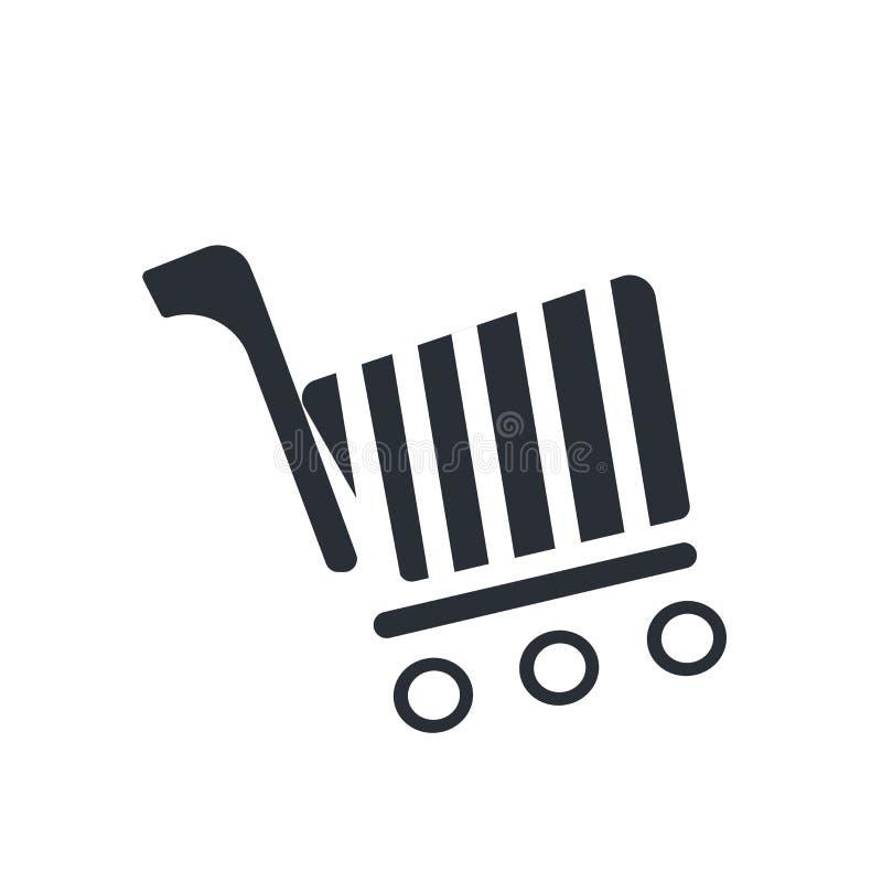 Muestra y símbolo del vector del icono del carro de la tienda en línea aislados en el fondo blanco, concepto del logotipo del car ilustración del vector