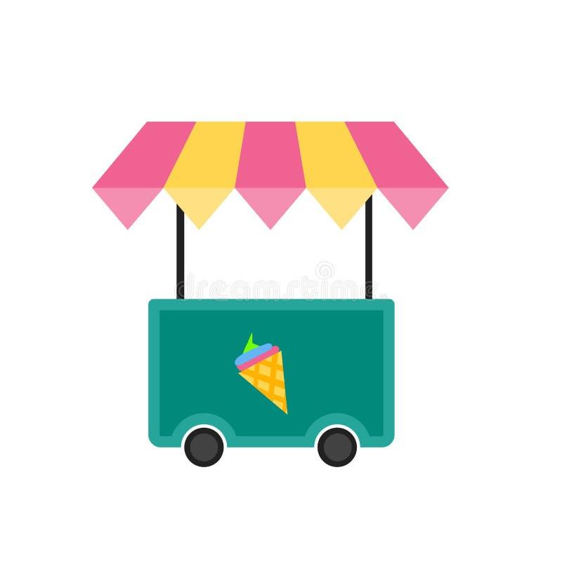 Muestra y símbolo del vector del icono del carro del helado aislados en el fondo blanco, concepto del logotipo del carro del hela libre illustration