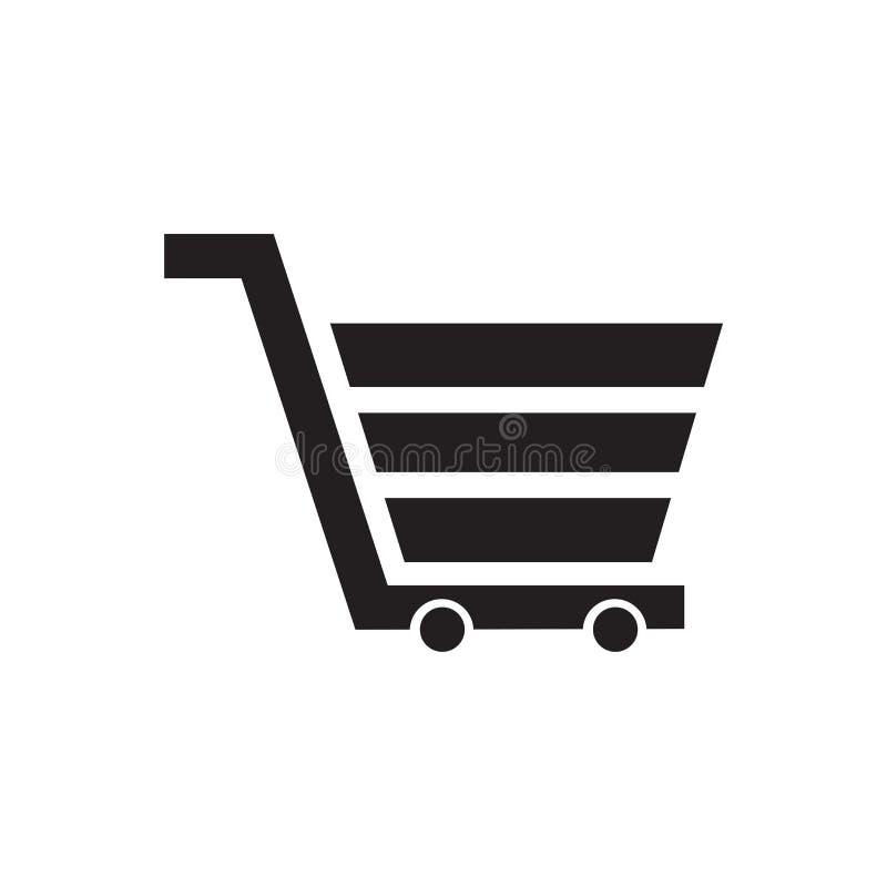 Muestra y símbolo del vector del icono del carro del supermercado aislados en el fondo blanco, concepto del logotipo del carro de libre illustration