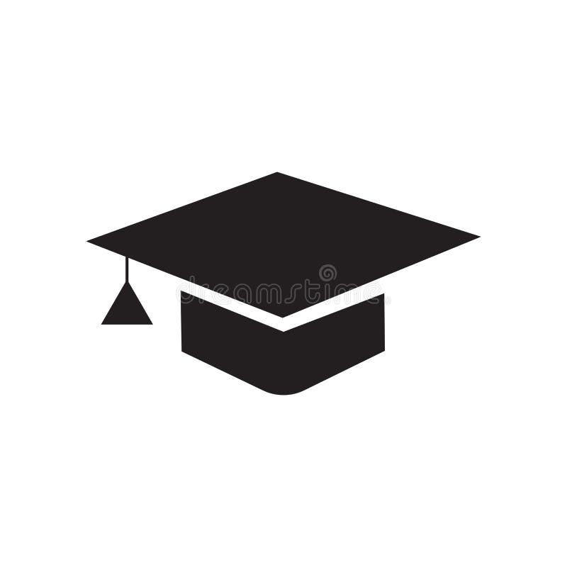 Muestra y símbolo del vector del icono del casquillo de la graduación aislados en el CCB blanco ilustración del vector