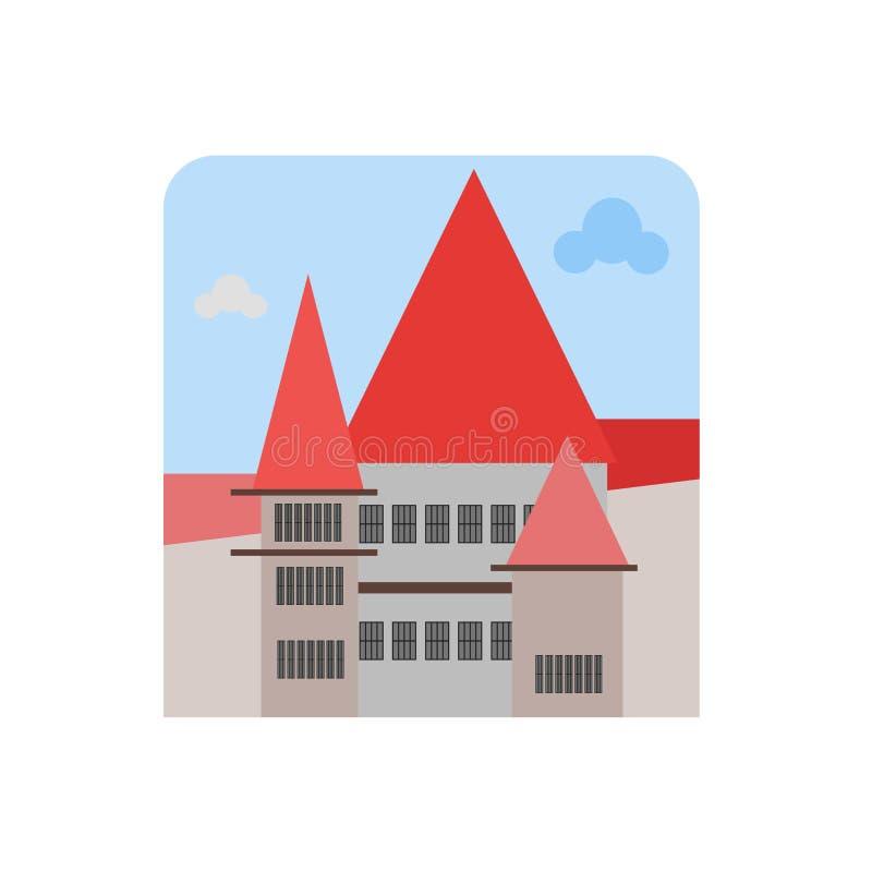 Muestra y símbolo del vector del icono del castillo del salvado aislados en el backgr blanco libre illustration