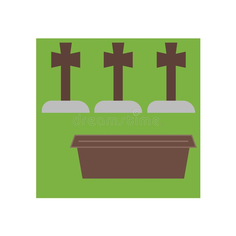 Muestra y símbolo del vector del icono del cementerio aislados en el fondo blanco, concepto del logotipo del cementerio libre illustration