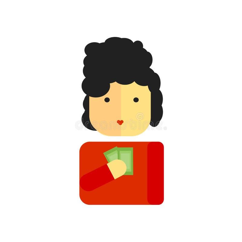 Muestra y símbolo del vector del icono del comprador aislados en el fondo blanco stock de ilustración