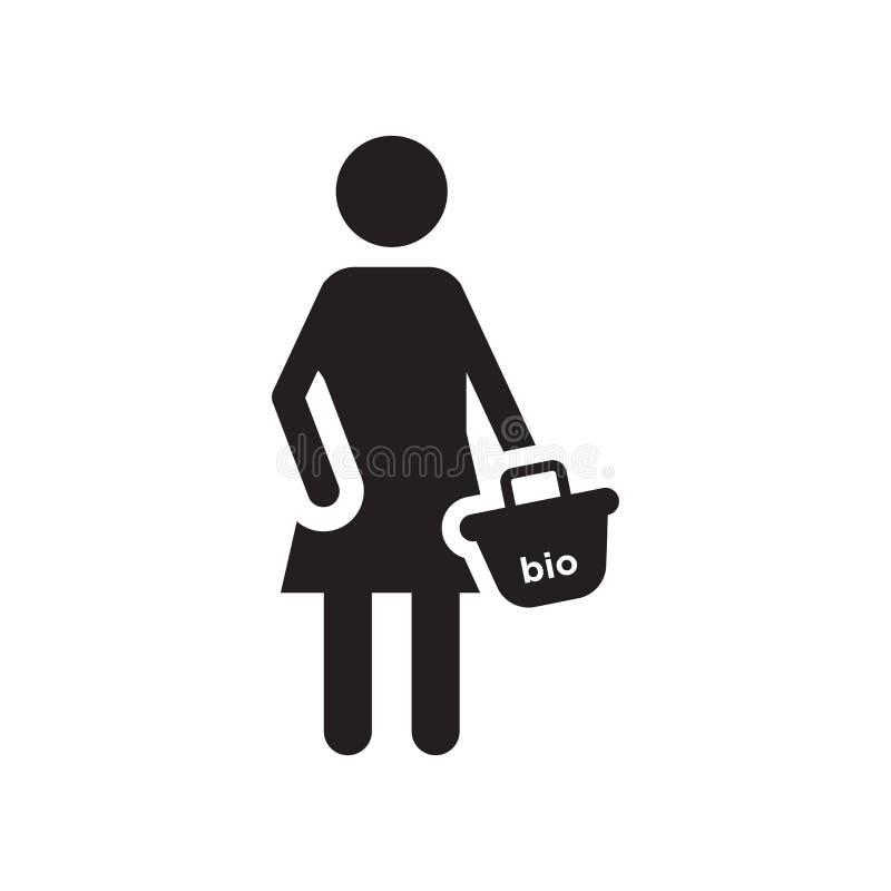 Muestra y símbolo del vector del icono del comprador aislados en el fondo blanco, concepto del logotipo del comprador ilustración del vector