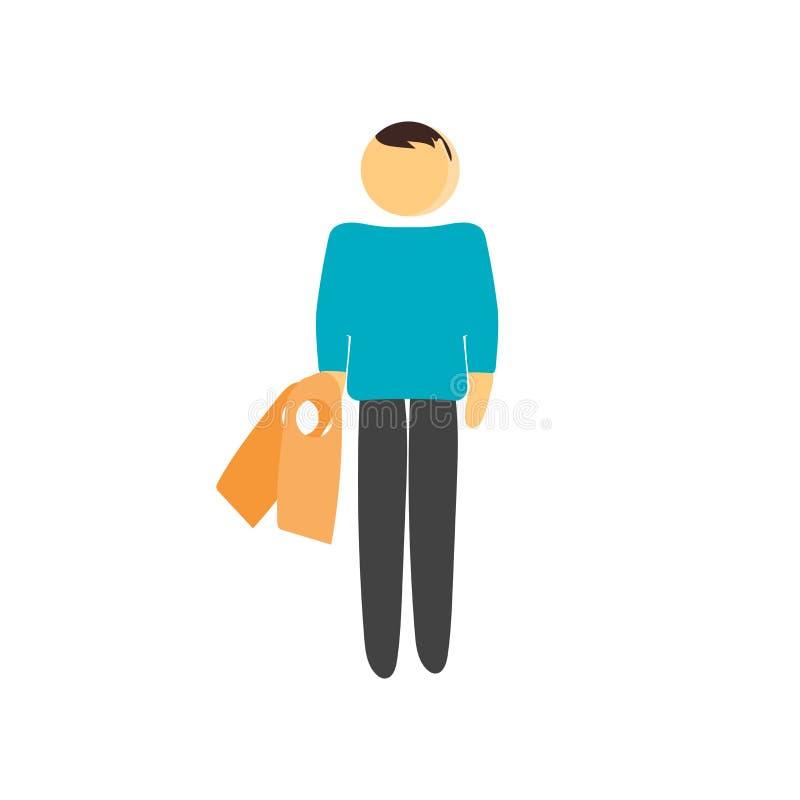 Muestra y símbolo del vector del icono del comprador aislados en el fondo blanco, concepto del logotipo del comprador stock de ilustración