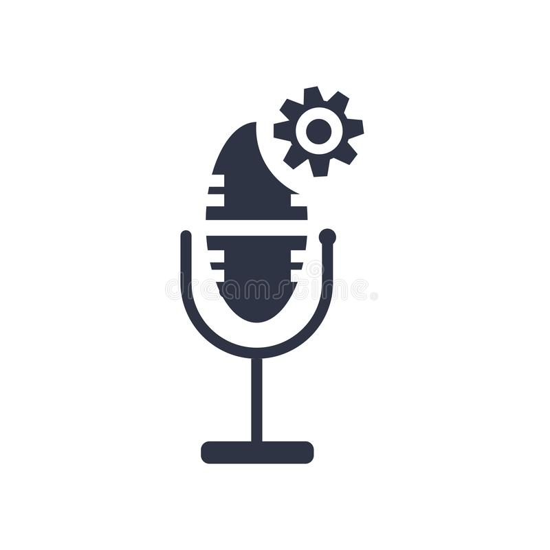Muestra y símbolo del vector del icono del control de la voz aislados en el fondo blanco, concepto del logotipo del control de la stock de ilustración