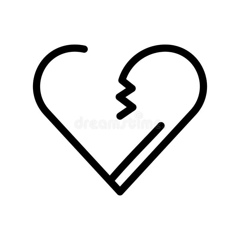 Muestra y símbolo del vector del icono del corazón quebrado aislados en el backg blanco libre illustration