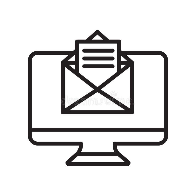 Muestra y símbolo del vector del icono del correo electrónico aislados en el fondo blanco stock de ilustración