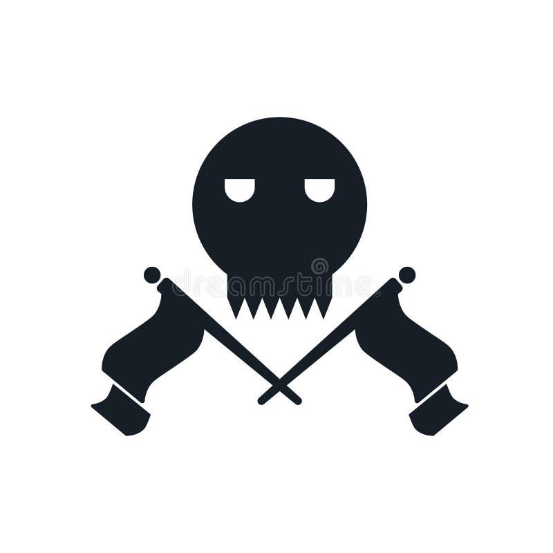 Muestra y símbolo del vector del icono del cráneo y de los huesos aislados en el fondo, el cráneo y el concepto blancos del logot ilustración del vector