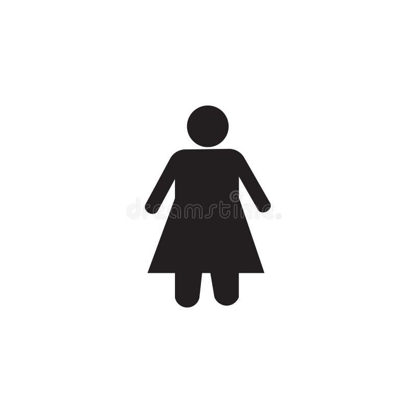 Muestra y símbolo del vector del icono del cuarto de baño de las mujeres aislados en el fondo blanco, concepto del logotipo del c stock de ilustración
