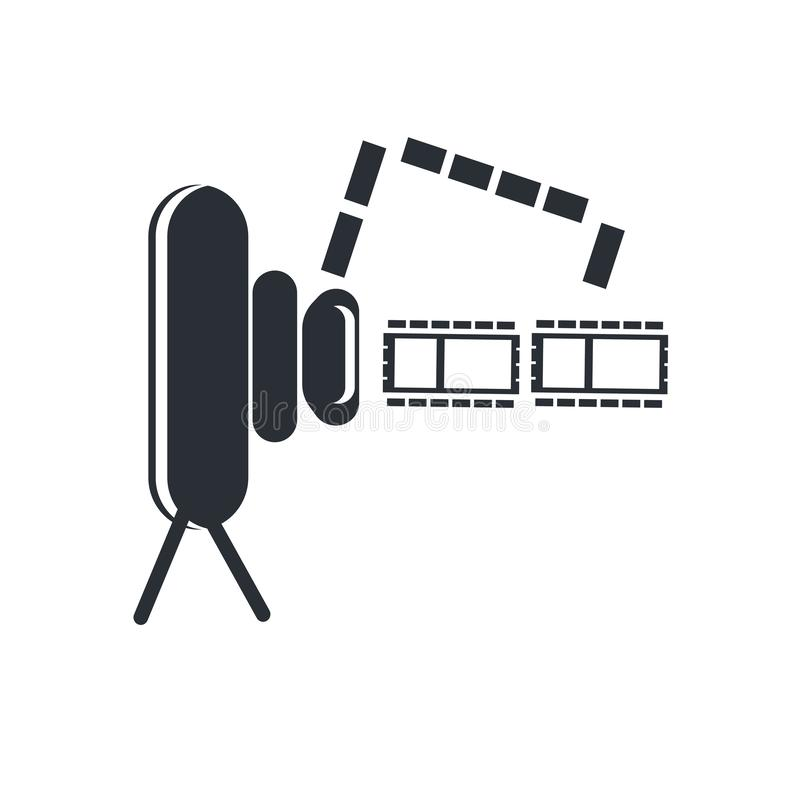 Muestra y símbolo del vector del icono de Front View de la cámara de vídeo aislados en el fondo blanco, concepto del logotipo de  stock de ilustración