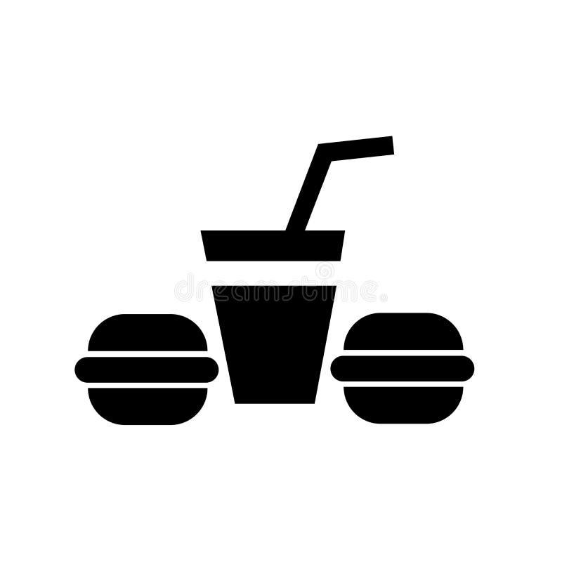 Muestra y símbolo del vector del icono de Hamburguer y de la bebida aislados en el concepto blanco del fondo, del logotipo de Ham ilustración del vector
