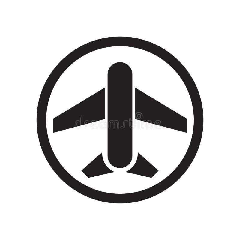 Muestra y símbolo del vector del icono de la muestra del aeropuerto aislados en el fondo blanco, concepto del logotipo de la mues ilustración del vector