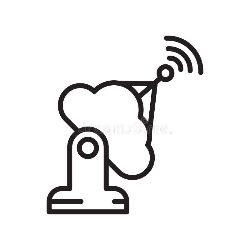Muestra y símbolo del vector del icono de la antena aislados en el fondo blanco stock de ilustración