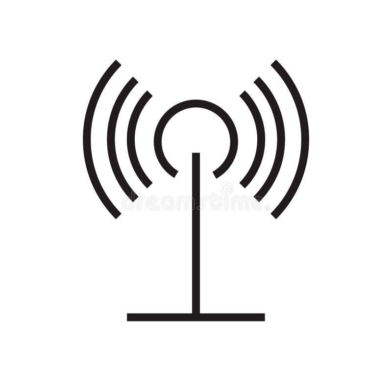 Muestra y símbolo del vector del icono de la antena aislados en el fondo blanco, concepto del logotipo de la antena stock de ilustración