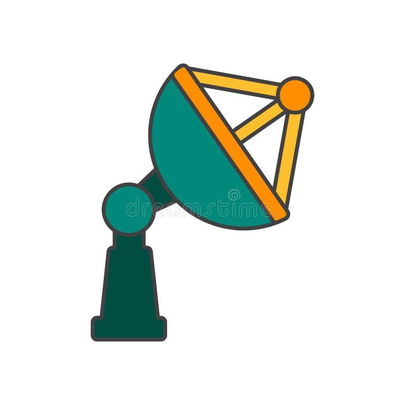 Muestra y símbolo del vector del icono de la antena parabólica aislados en el fondo blanco, concepto del logotipo de la antena pa libre illustration