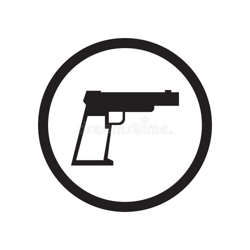 Muestra y símbolo del vector del icono de la muestra del arma aislados en el fondo blanco, concepto del logotipo de la muestra de stock de ilustración