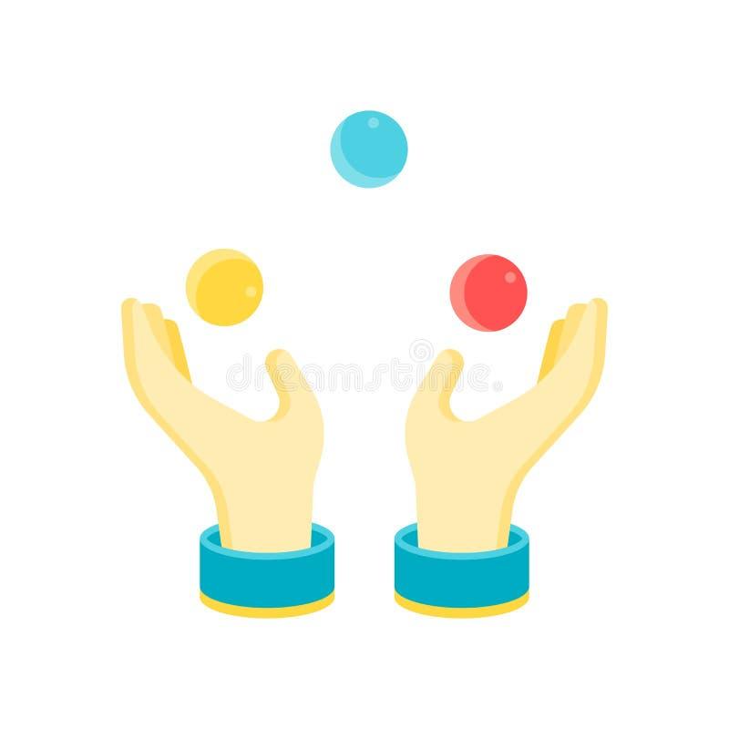 Muestra y símbolo del vector del icono de la bola que hacen juegos malabares aislados en la parte posterior blanca stock de ilustración