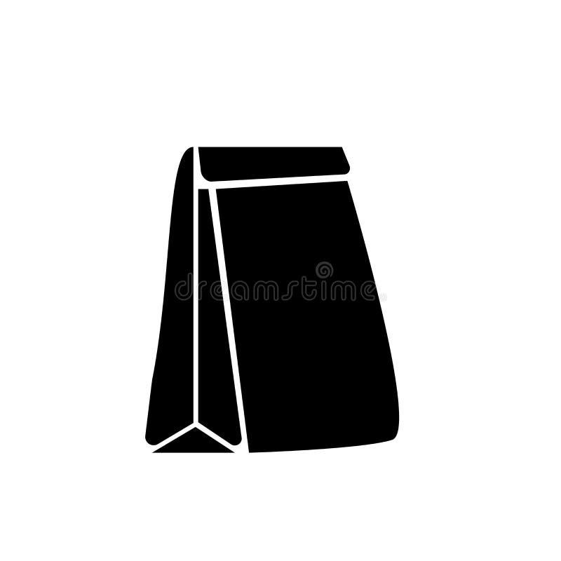 Muestra y símbolo del vector del icono de la bolsa de papel aislados en el fondo blanco, concepto del logotipo de la bolsa de pap stock de ilustración