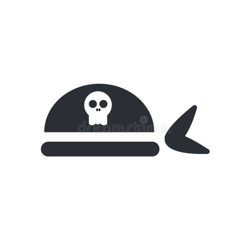 Muestra y símbolo del vector del icono de la bufanda del pirata aislados en el backg blanco stock de ilustración