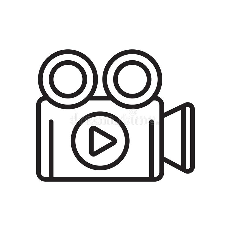 Muestra y símbolo del vector del icono de la cámara de vídeo aislados en el backg blanco stock de ilustración