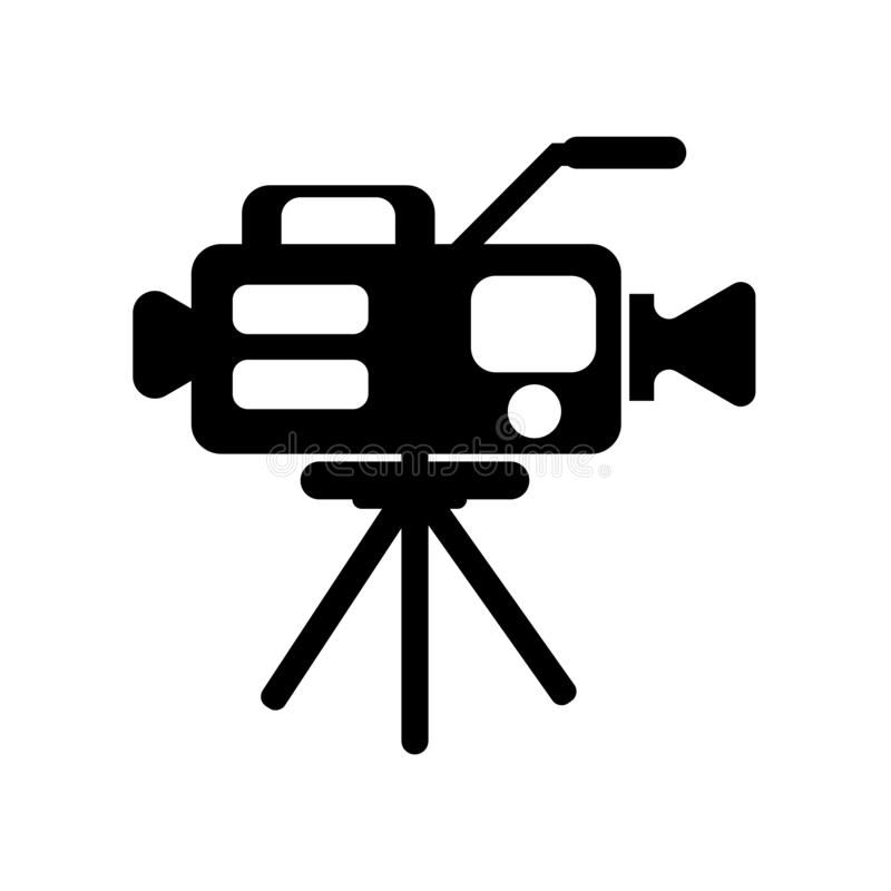 Muestra y símbolo del vector del icono de la cámara de vídeo aislados en el backg blanco ilustración del vector