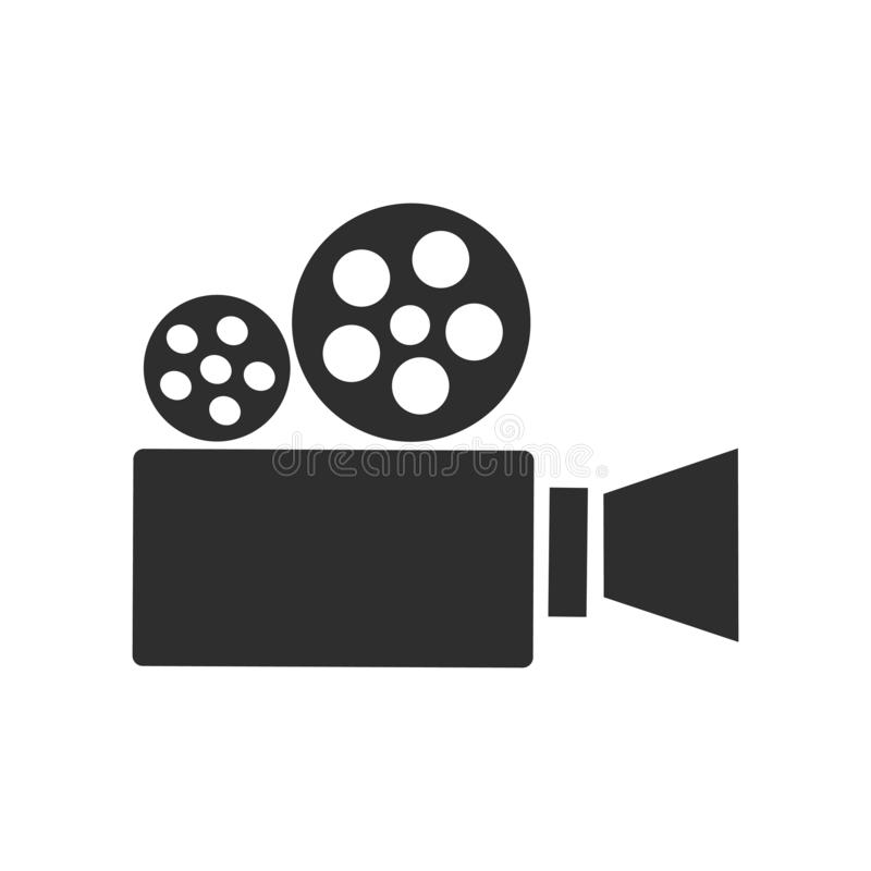 Muestra y símbolo del vector del icono de la cámara de vídeo aislados en el fondo blanco, concepto del logotipo de la cámara de v stock de ilustración