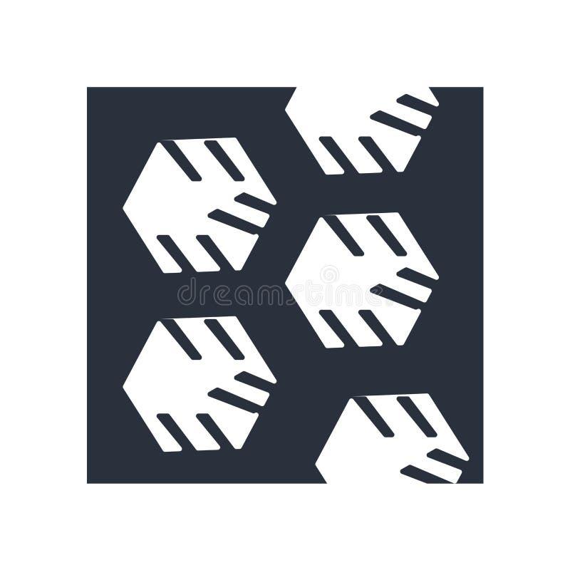Muestra y símbolo del vector del icono del símbolo de la célula de tres hexágonos aislados en el fondo blanco, concepto del logot ilustración del vector