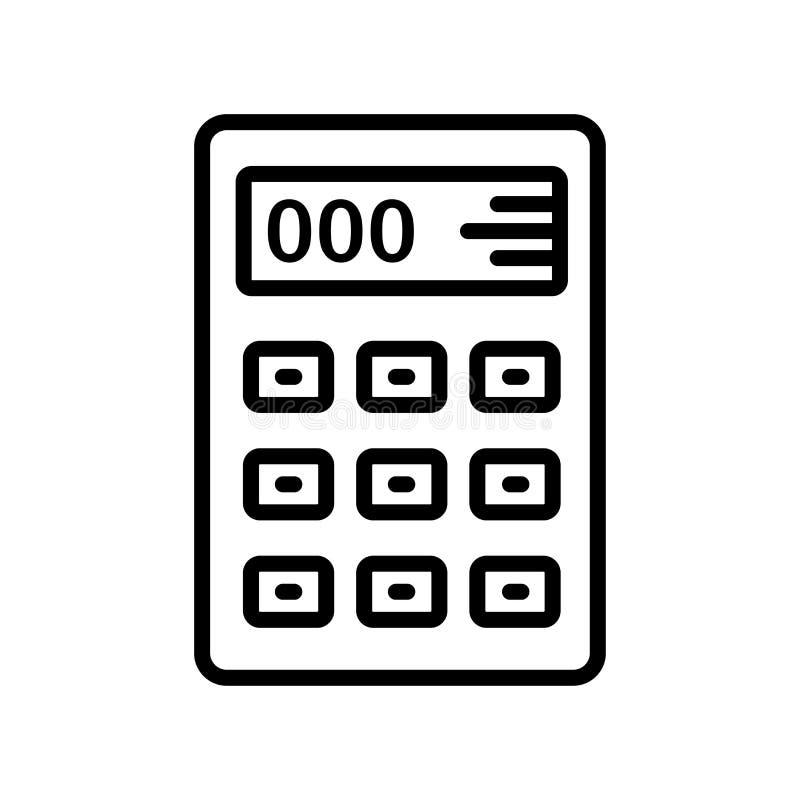 Muestra y símbolo del vector del icono de la calculadora aislados en el backgro blanco stock de ilustración