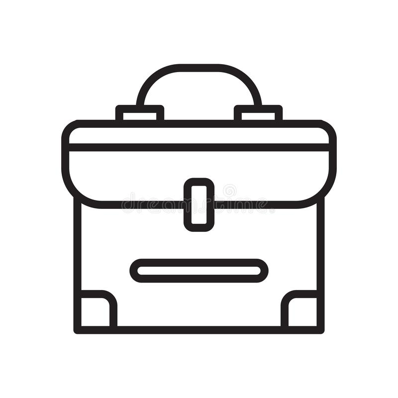 Muestra y símbolo del vector del icono de la cartera aislados en el backgrou blanco stock de ilustración